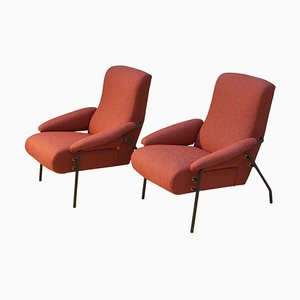 Red Italian Lounge Chairs, 1960s, Set of 2