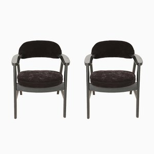 Mid-Century Black Wood & Velvet Chairs by Rajmund Halas, 1960s, Set of 2