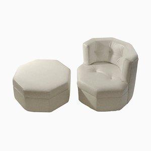 Hexagonal White Leather Chair & Stool Set, 1960s