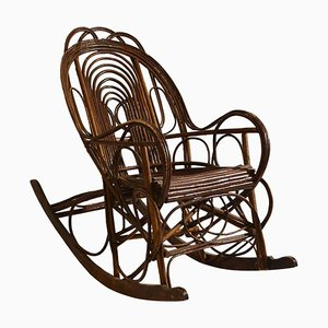 Antique Swedish Rocking Chair in Bent Willow
