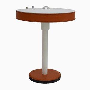 Lámpara de mesa modernista vintage con detalles de cuero naranja de Philips, años 60