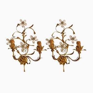 Apliques estilo antiguo con flores de cristal de Murano y estaño dorado, años 30. Juego de 2