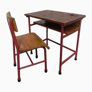 Juego de escritorio infantil y silla industrial vintage