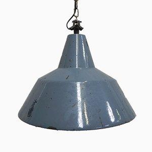 Vintage Industrie Hängelampe aus Stahl mit emailliertem Schirm