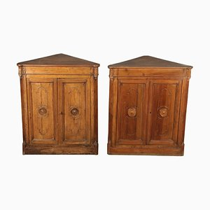 Antique Walnut Corner Cabinets, Set of 2