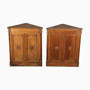 Mobiletti ad angolo antichi in legno di noce, set di 2
