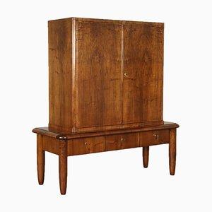 Mobiletto vintage impiallacciato in legno di noce