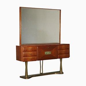 Cassettiera in teak con specchio, Italia, anni '50