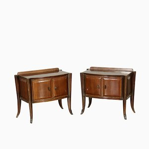 Vintage Italian Rosewood Veneer Nightstands, 1950s, Set of 2