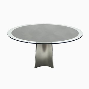 Mesa vintage de acero cepillado de Luigi Saccardo para Maison Jansen, años 70