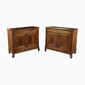 Antique Walnut Cupboards, Set of 2