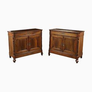 Credenze antiche in legno di noce, set di 2