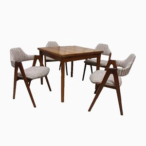 Vintage Teak Table & 4 Compass Chairs Set by Kai Kristiansen for SVA Møbler, 1960s