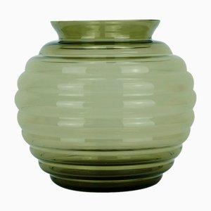 Vaso vintage in vetro fumé di Richard Lauke per VLG Weißwasser, anni '30