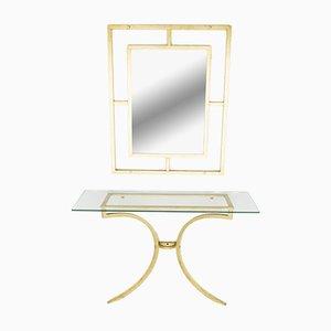 Mesa consola vintage con espejo de Robert Thibier, años 60