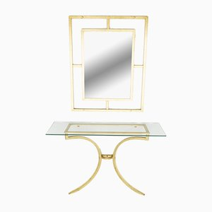 Vintage Console Table & Mirror by Robert Thibier, 1960s