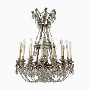 Antiker Kronleuchter mit 24 Anhängern aus Kristallglas