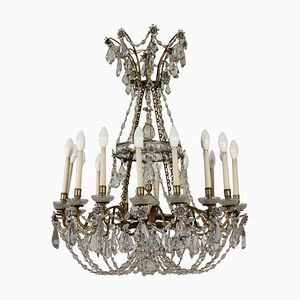 Lustre Antique avec 24 Suspensions en Cristal