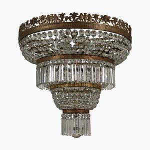 Lámpara de araña italiana estilo Imperio vintage de vidrio y latón
