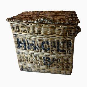 Antiker viktorianischer Wäschekorb aus Korbgeflecht von HH Crl Ltd.