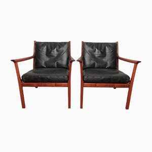 Mahogany & Leather Armchairs by Ole Wanscher for Poul Jaeppesens, 1970s, Set of 2
