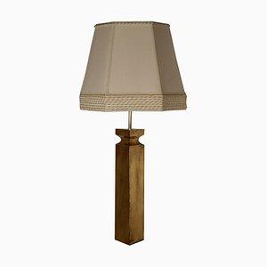 Lámpara de mesa italiana vintage de latón y tela, años 80