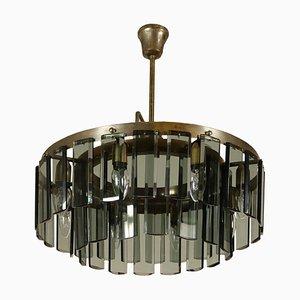 Lámpara de techo italiana vintage de latón y vidrio