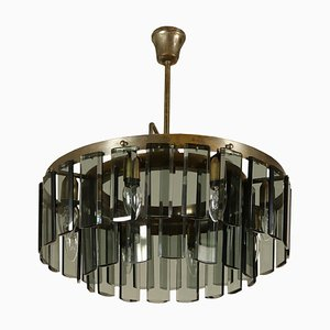 Vintage Italian Brass & Glass Ceiling Lamp
