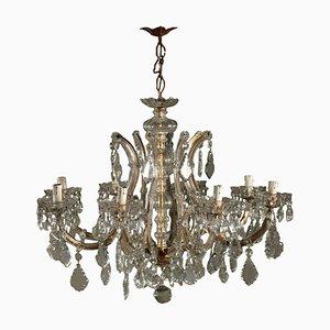Lámpara de araña Marie-Thérèse con cuentas de cristal, década del 1900