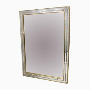 Espejo de pared belga vintage rectangular facetado, años 60
