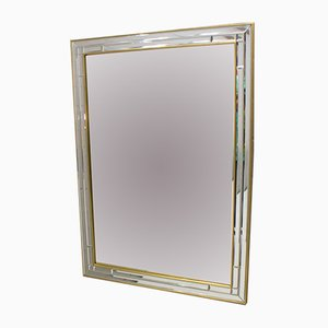 Vintage Belgian Faceted Rectangular Wall Mirror, 1960s