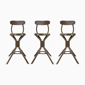 Vintage Industrial Factory Machinists Stool from Evertaut, Set of 3