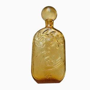 Decantador vintage de vidrio amarillo de Empoli, años 70
