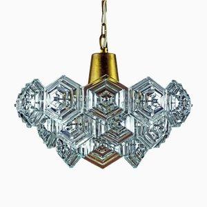 Mid-Century Crystal Glass & Brass Chandelier from VEB Kristallleuchtenbau Ebersbach, 1960s