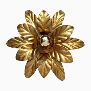 Mid-Century Golden Leaf Ceiling or Wall Light, 1960s