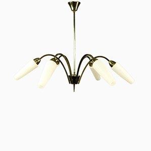 Lámpara de araña vintage de latón y vidrio con seis puntos de luz