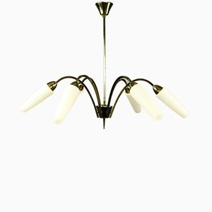 Lustre à 6 Lampes Vintage en Laiton et Verre
