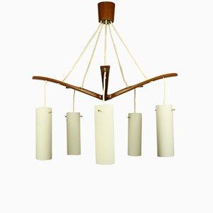 Lámpara de araña danesa Mid-Century de teca y vidrio