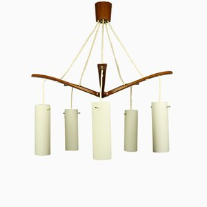 Mid-Century Danish Teak & Glass Chandelier