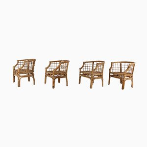 Vintage Bamboo Chairs, 1970s, Set of 4