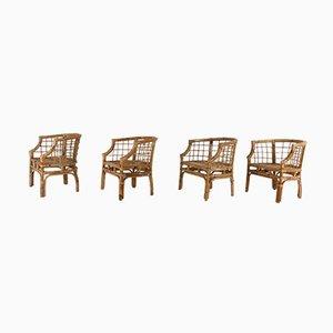 Vintage Stühle aus Bambus, 1970er, 4er Set