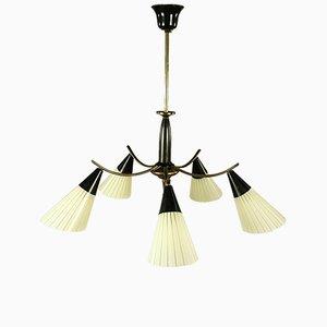 Lámpara de araña Mid-Century de latón