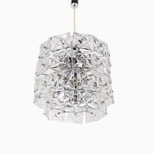 Large Brutalist Chandelier with Crystal Pendants from Kinkeldey, 1970s