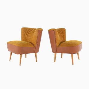 Cocktail Fabric and Faux Leather Armchairs, 1960s, Set of 2
