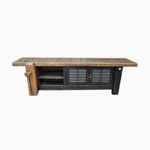 Industrial Beech, Metal & Fir Carpenter's Workbench, 1930s