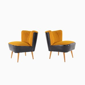 Ocher & Faux Black Leather Cocktail Chairs, 1960s, Set of 2