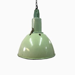Industrial Soviet Green Enamel Pendant Lamp, 1960s