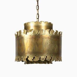 Brutalist Brass Pendant by Svend Aage Holm Sørensen, 1970s