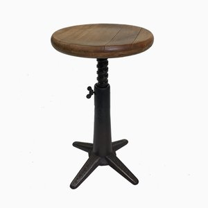 Industrial Cast Iron & Ash Stool from Singer, 1930s
