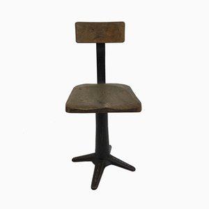 Silla de escritorio industrial de hierro fundido y fresno de Singer, años 30